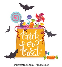Trick-or-treat. Bag full of candies. Halloween vector poster