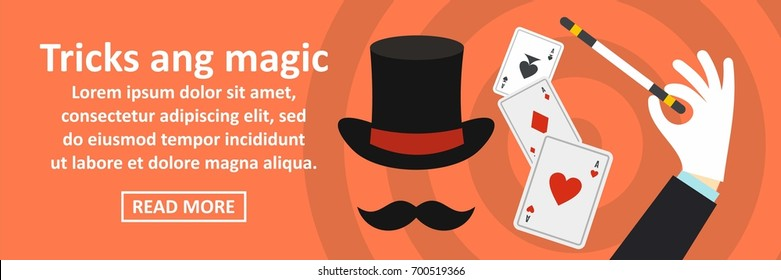 Tricks and magic banner horizontal concept. Flat illustration of tricks and magic banner horizontal vector concept for web