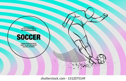 Tricky kick by soccer player. Vector outline of soccer player sport illustration.