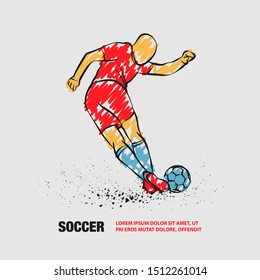 Tricky kick by soccer player. Vector outline of soccer player with scribble doodles.