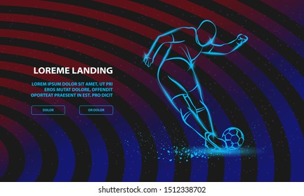 Tricky kick by soccer player. Vector Sport Background for Landing Page Template.