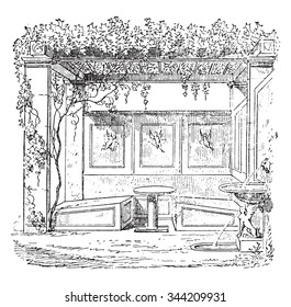 Triclinium the house of Sallust, vintage engraved illustration. Private life of Ancient-Antique family-1881.