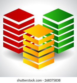 Tricolor Abstract Towers. Eps 10 Vector