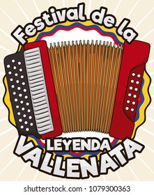 Tricolor award ribbon like Colombian flag with accordion design to grant the title of King in the contest in Vallenato Legend Festival (written in Spanish).