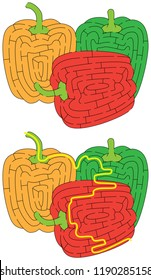 Tricolor bell peppers maze for younger kids with a solution