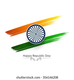 Tricolor brush stroke illustration with Asoka wheel for republic day India.