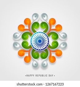 Tricolor floral motif design with Ashok Wheel on white background for Republic Day celebration.