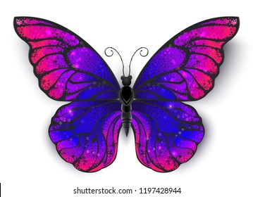 Tricolored butterfly morpho, painted in bisexual flag colors.