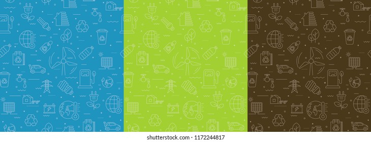 Tricoloured vector seamless pattern of Ecology, Environmental and Recycle with linear icons. Contains such Icons as  Car Battery, Earth Environment, Eco Bag, Energy Efficiency, Energy Save