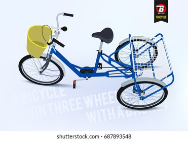 Tricycle. Freight tricycle for adults. A bicycle on three wheels with a basket. Walking bicycle view top/