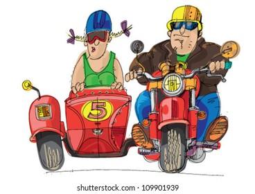 tricycle motorbike - cartoon