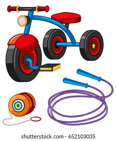 Tricycle and other toys illustration