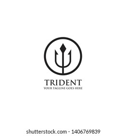 Trident arrow logo design vector template