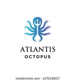 trident atlantis and octopus logo icon vector template