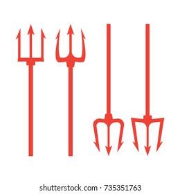 trident devil flat. Neptune red vector trident