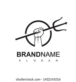 Trident Hand In Circle Frame Logo