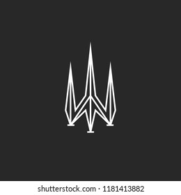Trident logo design, poseidon symbol, sharp shape