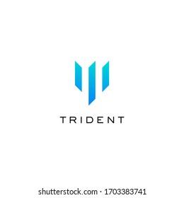 Trident logo icon design template