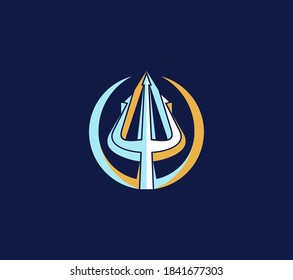 Trident logo isolated on dark background. Vintage symbol, Poseidon Neptune God Triton King sign design.
