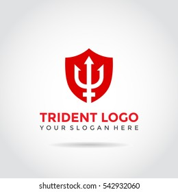 Trident Logo Template Design. Trident and shield.