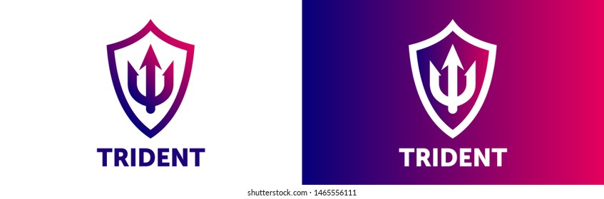 Trident Logo Template vector icon illustration design. abstract color gradient logotype. trident icon