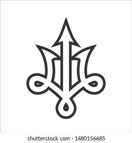 Trident logo vector. Trishul symbol. Ancient icon.