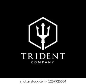 trident ocean king master vector icon logo design template