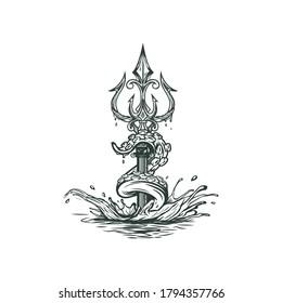 Trident Octopus hand drawn mascot logo