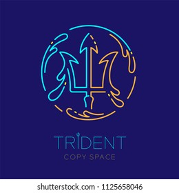 Trident and Water splash circle frame shape, logo icon outline stroke set dash line design illustration isolated on dark blue background with trident text and copy space