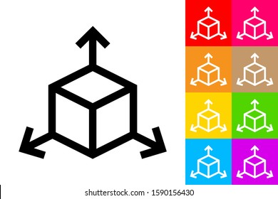 Tridimensional Coordinate Spaces. Line Icon With Different Color Background.