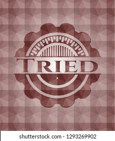 Tried red badge with geometric pattern background. Seamless.