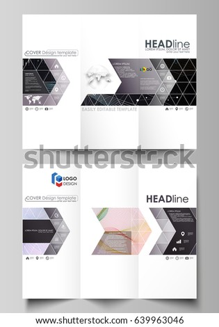 trifold brochure business templates easy editable stock vector