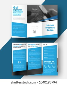 Tri-fold  brochure with diagonal lines and a place for photos. Vector template of white color with blue elements for text and diagram. Business design for advertising and printing.