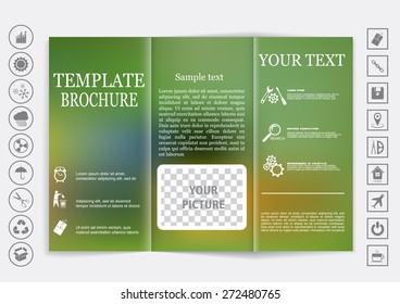 Tri-Fold Brochure mock up vector design. Blur background. Corporate Business Style