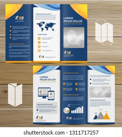 Tri-Fold Brochure Mock-up, Realistic Rendering of Tri-Fold Brochure Background, 3D Illustration. abstract business tri fold Leaflet Flyer vector design set, three fold presentation layout a4 size