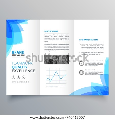 trifold brochure template design abstract blue stock vector royalty