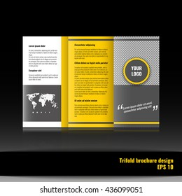 Trifold brochure template design. Corporate booklet. Stock vector.