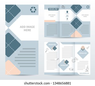 Tri-fold brochure template with doodles