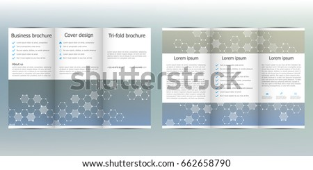 tri fold brochure template with hexagonal background vector illustration