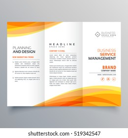 trifold brochure template with orange wave shapes