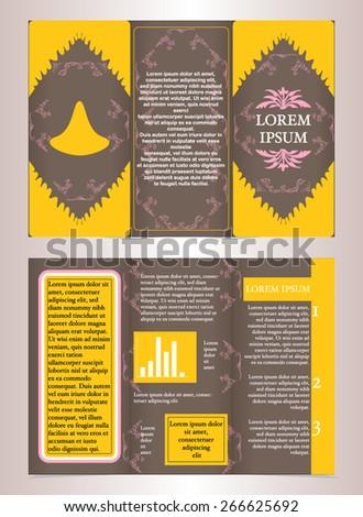 trifold business brochure template design vintage stock vector