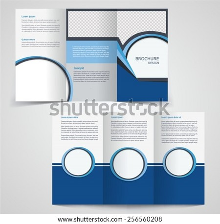 trifold business brochure template twosided template stock vector