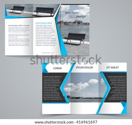 Trifold business brochure template twosided template stock vector tri fold business brochure template two sided template design in blue color friedricerecipe Image collections