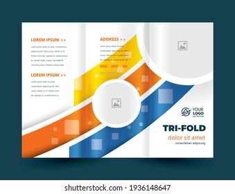 Tri-fold Circles and Stripes lines design template cover