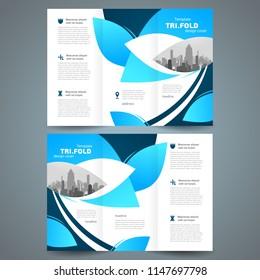 Tri-fold leaf blue design template foliage theme cover brochure