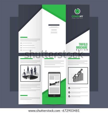 tri fold leaflet brochure template front back stock vector royalty