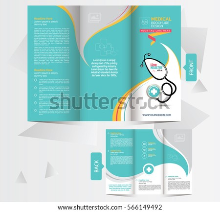 tri fold medical brochure design template front stock vector