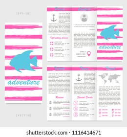 trifold travel brochure template flamingo on stock vector royalty
