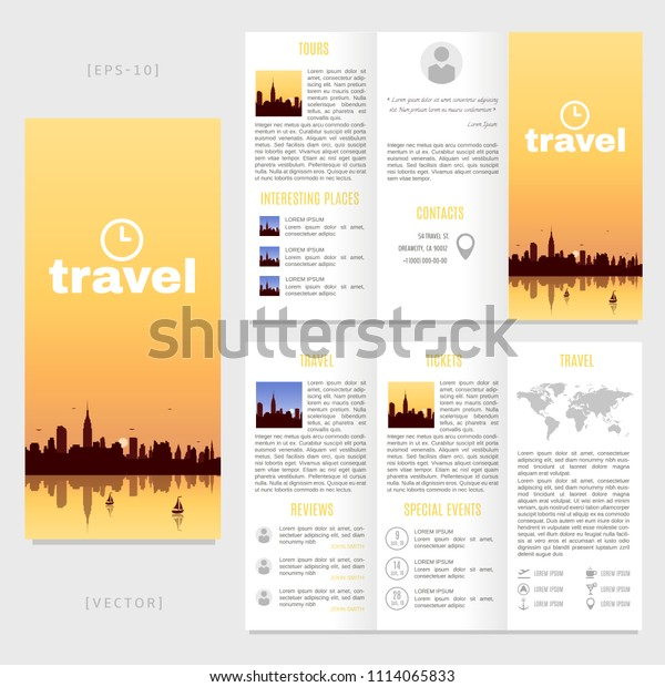 Tri-fold travel brochure template. Vector landscape with a view of New York.
