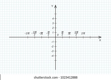 Trigonometrical system of coordinate on graph paper. Vector illustration. Empty template for drawing graphs  of trigonometric functions. Black axes on blue checkered paper. Mathematical design.